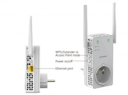 AC1200 WiFi Range Extender boosts dual band WiFi range for speeds up to 1200 Mbps (pass-through version of EX6120)
